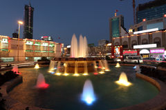 Fountain at night in Manama, Bahrain Royalty Free Stock Image