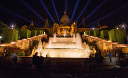 Fountain at night outside National Art Museum of Catalonia, Barcelona, Spain Stock Photos