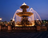 Fountain at night, Paris, France. Stock Images