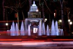 Fountain at night in park in Baku, capital of Azerbaijan Royalty Free Stock Photos