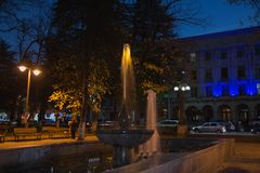 Fountain in the night park. Night scene of park Royalty Free Stock Image