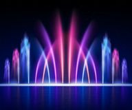Fountain Night Realistic Image Royalty Free Stock Photo