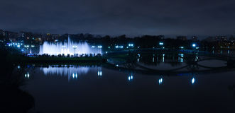 Fountain night silhouettes Stock Photography
