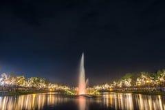 Fountain at night in Suan Luang Rama 9 Park  in Bangkok Stock Image