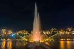 Fountain at night in Suan Luang Rama 9 Park  in Bangkok Royalty Free Stock Image