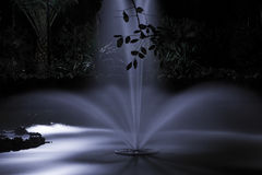 Fountain at night under moonlight. Romantic fountain at night under moonlight in the Maria Luisa Park in Seville, Spain Royalty Free Stock Photography