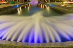 Fountain at Nikola Pasic square in Belgrade, Serbia. Beautiful multicolored fountain at Nikola Pasic Square in Belgrade, long exposure Royalty Free Stock Photography