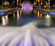 Fountain at Nikola Pasic square in Belgrade, Serbia. Beautiful multicolored fountain at Nikola Pasic Square in Belgrade, long exposure Stock Photography
