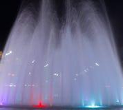 Fountain at Nikola Pasic square in Belgrade, Serbia. Beautiful multicolored fountain at Nikola Pasic Square in Belgrade, long exposure Royalty Free Stock Photo