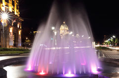 Fountain at Nikola Pasic square in Belgrade, Serbia. Beautiful multicolored fountain at Nikola Pasic Square in Belgrade, parliament building Royalty Free Stock Photo