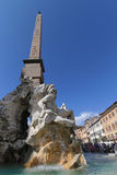 Fountain and obelisk on Piazza Navona Royalty Free Stock Photo