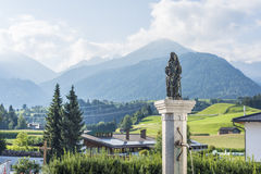 Fountain in Oberperfuss village, Austria. Royalty Free Stock Images