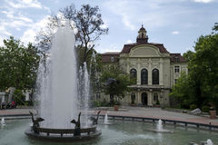 Fountain and old renovated building in Plovdiv Royalty Free Stock Photography