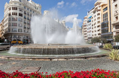 The fountain on one of the central streets of Valencia. Stock Photo