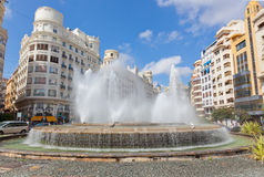 Fountain on one of the central streets of Valencia Stock Photos