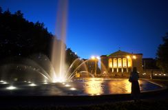 Fountain before opera house in Poznan at night Stock Images