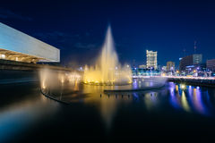 Fountain outside the Cultural Center of the Philippines at night Royalty Free Stock Photo
