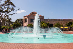 Fountain Outside Fleet Science Center in Balboa Park. SAN DIEGO, CALIFORNIA - APRIL 28, 2017: The Bea Evenson fountain outside the Fleet Science Center, a royalty free stock images