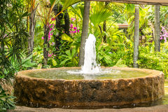 Fountain. Over flowing of water features at Jurong bird park entrance Royalty Free Stock Photo