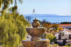 Fountain Pacific Ocean Mission Santa Barbara California. Founded in 1786 at the end of Father Junipero Serra life stock photos