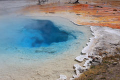 Fountain Paint Pot-Lower Geyser Basin. This hot water pool in the Fountain Paint Pot area of the lower geyser basin in Yellowstone National Park is clear and Stock Image