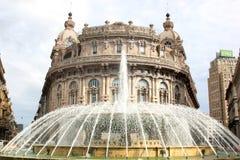 Fountain and Palazzo della Borsa Valori, Genoa Stock Images