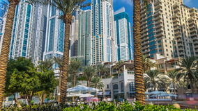 Fountain and palms timelapse at the Marina walk, During day time. Dubai, UAE stock footage