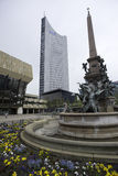 Fountain with Panorama Tower in Background Stock Photography