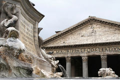 Fountain and Pantheon in Rome Stock Photography