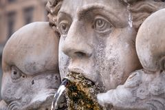 Fountain at Pantheon in Rome, Italy. Closeup, detail stock photo