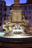 Fountain of the Pantheon in Rome at night Royalty Free Stock Photos