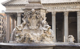 Fountain and the Pantheon in the square Rotonda (architect Giaco Royalty Free Stock Images