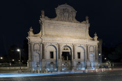 Fountain Paola. Rome Night View. Monumental fountain of the Gianicolo is the great exhibition of Paola water coming from Lake Bracciano. Rome, Italy. Night view Royalty Free Stock Photos