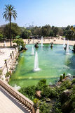 Fountain in Parc de la Ciutadella, Barcelona, Spain. Summer scene, view from upstairs towards the park Stock Photography