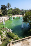 Fountain in Parc de la Ciutadella, Barcelona, Spain. Summer scene, view from upstairs towards the park Royalty Free Stock Photography