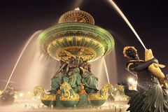 Fountain in paris. Night view of fountain at square of concorde in paris Stock Images