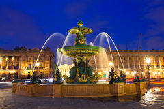 Fountain in Paris at Night Stock Image