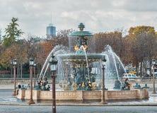 Fountain in Paris at the Place de la Concorde Stock Images