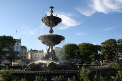 Fountain in a park in Brighton. Water fountain in gardens in Brighton stock photography