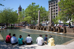 Fountain and park in front of Trinity Church Stock Photography