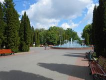 Fountain in the park in good weather. Stock Photos