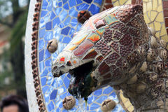 Fountain in Park Guell, Barcelona, Spain Royalty Free Stock Photography