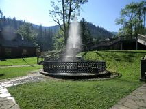 Fountain and park at Kuznice near Zakopane, Poland Stock Photo