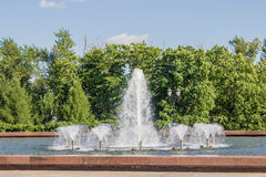 The fountain in the park and a lot of pipes on a. Background of green summer trees Stock Image