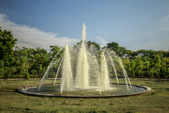 The fountain in the park and a lot of pipes Royalty Free Stock Images