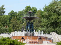 The fountain in the Park. Men keep the Cup. Royalty Free Stock Images