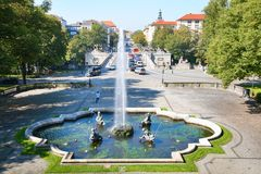 Fountain in park , Munich Stock Photo