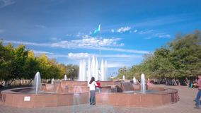Park named after the First President of the Republic of Kazakhstan in the city of Aktobe timelapse hyperlapse. Fountain in Park named after the First President stock footage
