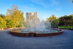 Fountain in the park named Frunze. stock image