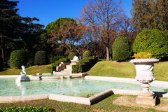 Fountain in Park of Palau Reial de Pedralbes Royalty Free Stock Photos